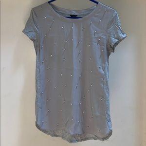 Ann Taylor Gray Pearl Top Shirt Blouse XS